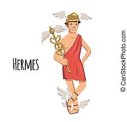 Hermes, ancient Greek god of Roadways, Travelers, Merchants and Thieves, messenger of the gods. Mythology. Flat vector illustration. Isolated on white background.