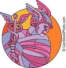 hermes, dieux, mosaïque, couleur, messager