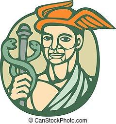 Hermes Holding Cadaceus Woodcut Linocut