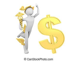 hermes, (mercury), con, caduceo, y, muestra del dólar