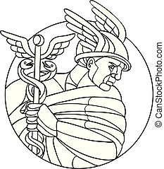 hermes-messenger-god-CIRC-MOSAIC - Mosaic low polygon style...