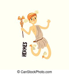 Hermes Olympian Greek God, ancient Greece mythology character vector Illustration on a white background