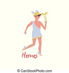 Hermes Olympian Greek God, ancient Greece myths cartoon character vector Illustration on a white background