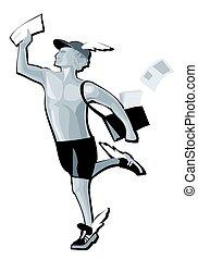 Hermes running. Greek god isolated on white. Vector flat gray illustration