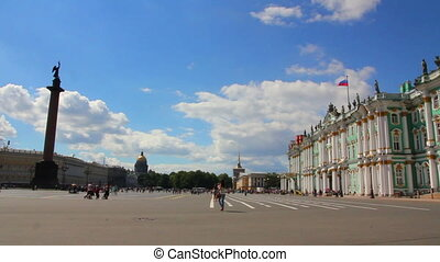 Hermitage and Palace Square in St. Petersburg - timelapse