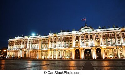 Hermitage on Palace Square illuminated lights evening,...