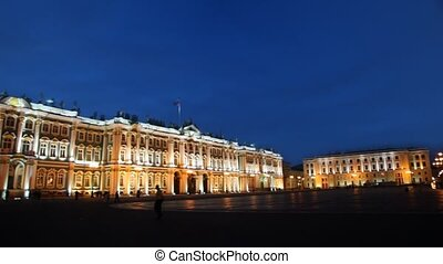 Hermitage on Palace square illuminated lights evening