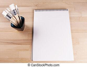 hermoso, álbum, diferente, artista, cepillos, composición