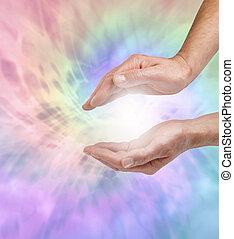 hermoso, ángel, curación, energía
