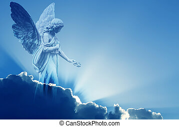 hermoso, ángel, en, cielo