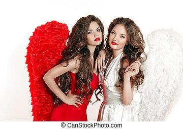 hermoso, ángel, niñas, con, ángel, wings., moda, mujeres, con, lon