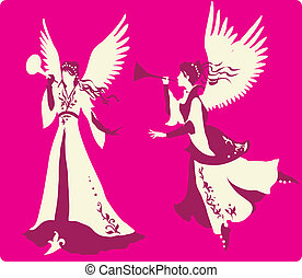hermoso, ángeles, siluetas, conjunto