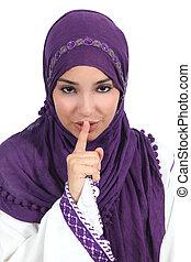 hermoso, árabe, mujer, preguntar, para, silencio, con, el, dedo labios