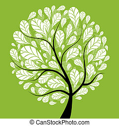 hermoso, árbol, diseño, arte, su