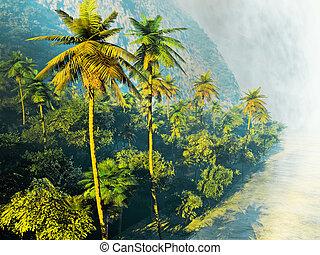 hermoso, árboles de palma