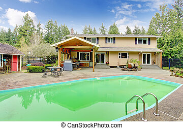 hermoso, área, patio, piscina traspatio, natación