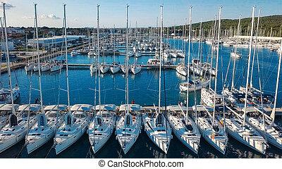 hermoso, aéreo, yates, navegación, moderno, barcos, densely,...