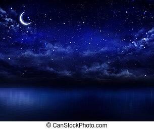 hermoso, abierto, cielo, mar, noche