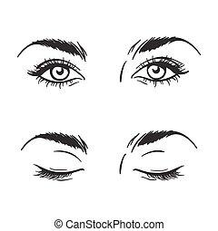 hermoso, abierto, ojos, vector, cerrado