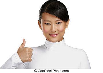 hermoso, actuación, pulgares arriba, niña asiática, feliz