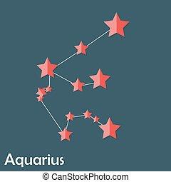 hermoso, acuario, señal, brillante, estrellas, zodíaco