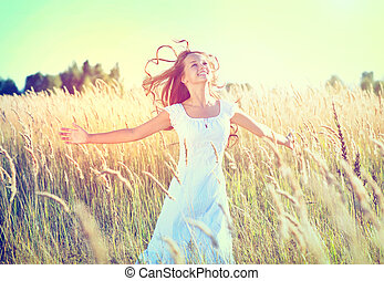 hermoso, adolescente, naturaleza, Aire libre, niña, el gozar