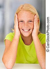 hermoso, adolescente niña, primer plano
