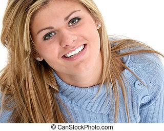 hermoso, adolescente niña, sonriente, mirar hacia arriba