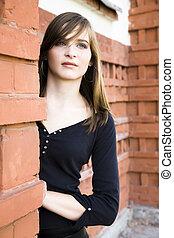 hermoso, adolescente, retrato