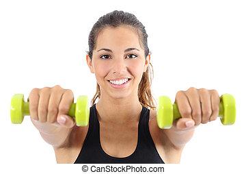 hermoso, aerobio, deportista, dumbbells, practicar
