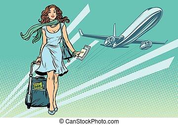 hermoso, aeropuerto, mujer, joven, equipaje