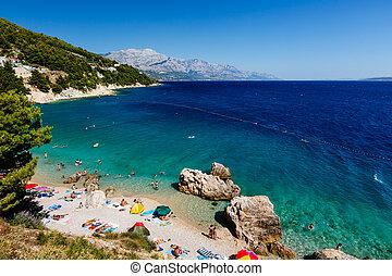 hermoso, agua azul, adriático, croacia, mar, dividir, playa,...