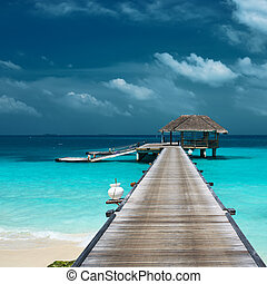 hermoso, agua, bungalows, playa