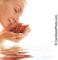 hermoso, agua, fresas, rendido, niña