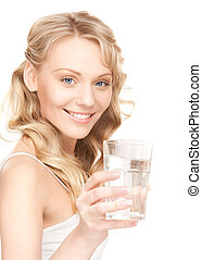 hermoso, agua, mujer, vidrio
