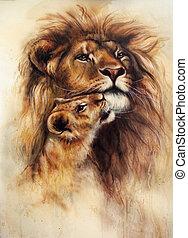 hermoso, airbrush, ella, cachorro de león, bebé, pintura,...