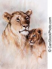 hermoso, airbrush, ella, león, madre, bebé, pintura, amoroso