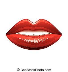 hermoso, aislado, labios, vector, rojo blanco
