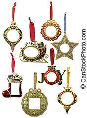 hermoso, aislado, ornamentos, navidad