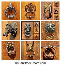 hermoso, aldabas, viejo, colección, plano de fondo, puerta