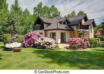 hermoso, aldea, casa, con, jardín