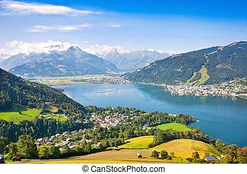 hermoso, alpes, zell, ver, zeller, paisaje