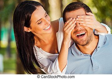 hermoso, ambos, ¿conjetura quién?, ella, cubierta, joven, posición, mientras, mujer, aire libre, sonriente, ojos, novio