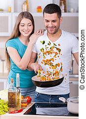 hermoso, amor, pareja, cocina, joven, juntos, juntos.,...