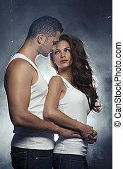 hermoso, amor, pareja, interior, joven, se abrazar, ...