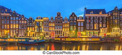 hermoso, amstel, city., río, noche, amsterdam, canales, ...