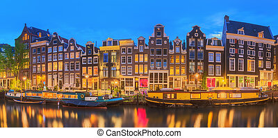 hermoso, amstel, países bajos, city., río, noche, amsterdam...