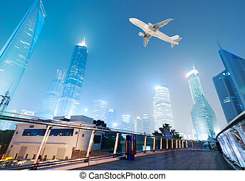hermoso, anochecer, shanghai, shanghai, pudong, contorno, china