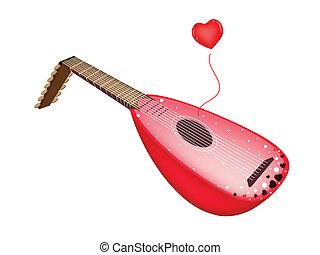 hermoso, antigüedad, canción de amor, laúd, juego