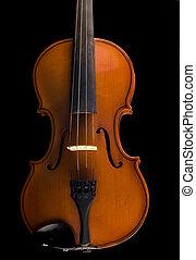 hermoso, antigüedad, violín, encima, negro